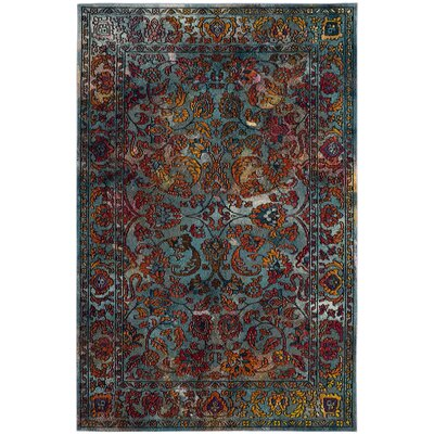 Lottie Light Blue/Orange Area Rug Rug Size: Square 7