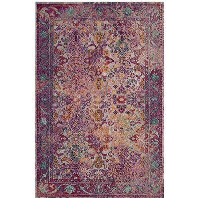 Nonet Light Blue/Fuchsia Area Rug Rug Size: Rectangle 4 x 6