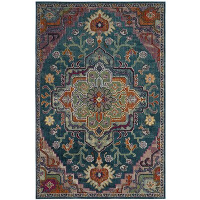 Gonzalez Teal/Rose Area Rug Rug Size: Square 7