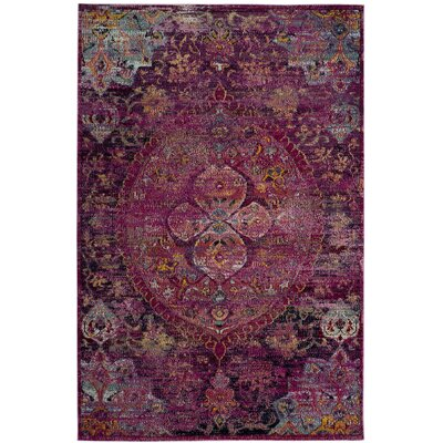 Flori Fuchsia/Purple Area Rug Rug Size: Rectangle 9 x 12