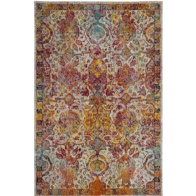 Lazaro Light Blue/Orange Area Rug Rug Size: Round 7