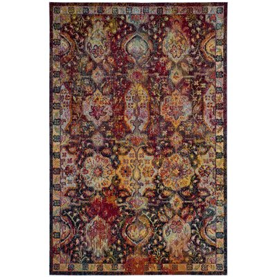 Floretta Blue/Orange Area Rug Rug Size: Round 7