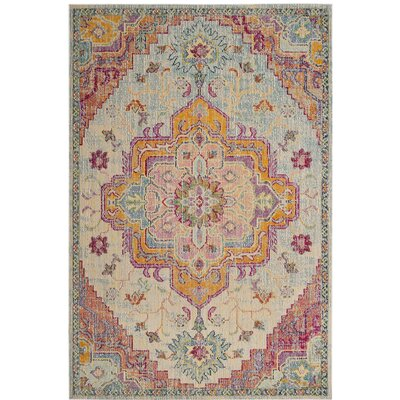 Floressa Light Blue/Fuchsia Area Rug Rug Size: Rectangle 9 x 12