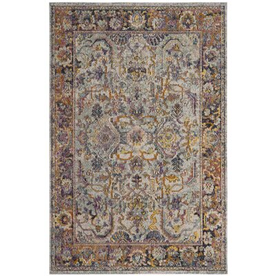 Elegy Light Blue/Orange Area Rug Rug Size: 67 x 92