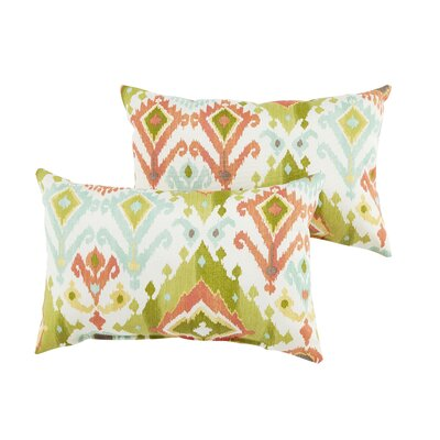 Fealty Green Ikat Indoor/Outdoor Lumbar Pillow