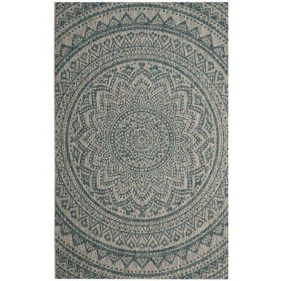 Amedee Gray/Teal Indoor/Outdoor Area Rug Rug Size: 2' x 3'7