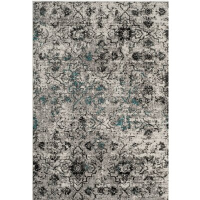 Alisa Gray/Black Area Rug Rug Size: Rectangle 4' x 6'