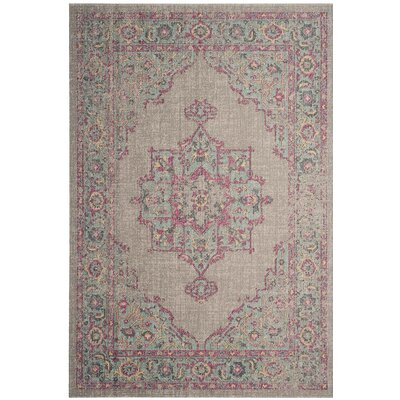 Chandni Gray/Light blue/Pink Area Rug Rug Size: 51 x 76