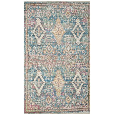 Myers Hand-Loomed Turquoise/Peach Area Rug Rug Size: Rectangle 5 x 7