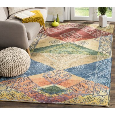 Amanda Hand-Loomed Red/Blue/Beige Area Rug Rug Size: Rectangle 4 x 6