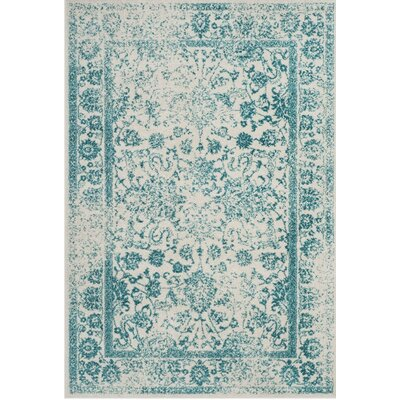 Norwell Ivory/Teal Area Rug Rug Size: Rectangle 3 x 5