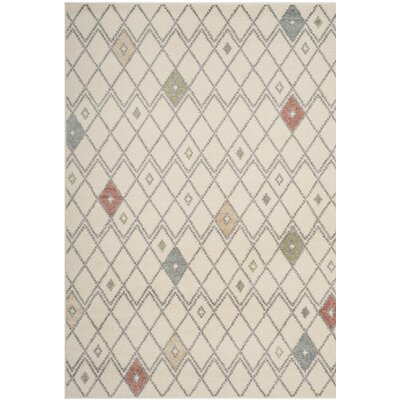 Buckleton Ivory/Red Area Rug Rug Size: Rectangle 51 x 76
