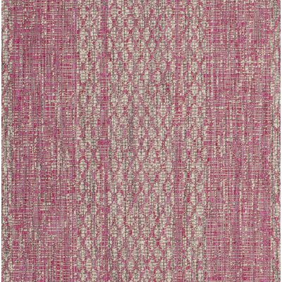 Myers Light Gray/Fuchsia Indoor/Outdoor Area Rug Rug Size: Rectangle 27 x 5