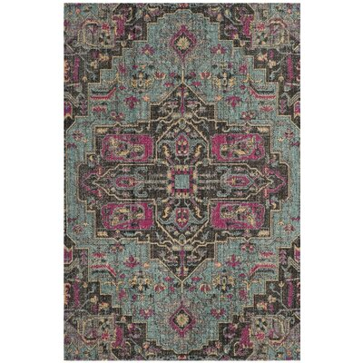 Bunn Oriental Light Blue/Black Area Rug Rug Size: Rectangle 67 x 9