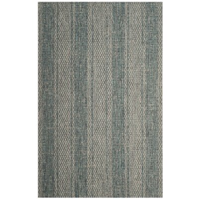 Myers Striped Light Gray/Teal Indoor/Outdoor Area Rug Rug Size: Round 67