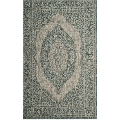 Myers Light Gray/Teal Indoor/Outdoor Area Rug Rug Size: Round 67