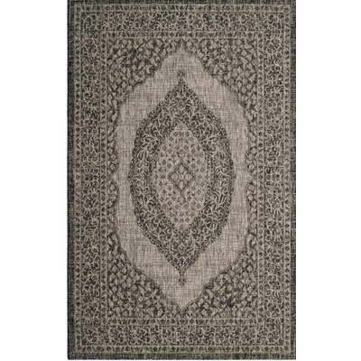 Amedee Gray/Black Indoor/Outdoor Area Rug Rug Size: 4 x 57