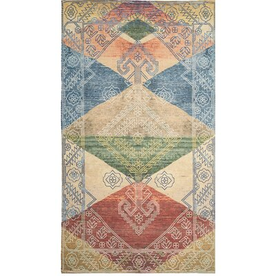 Amanda Hand-Loomed Red/Blue/Beige Area Rug Rug Size: 5 x 8
