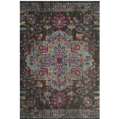 Chandni Black/Light Blue Area Rug Rug Size: 51 x 76