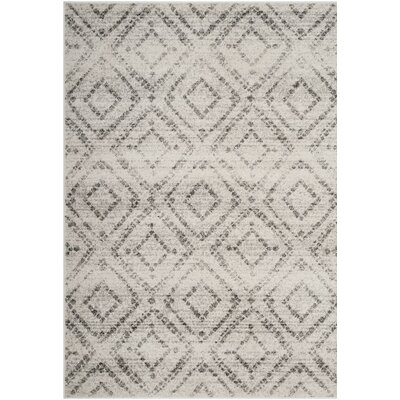 Buckleton Light Gray/Gray Area Rug Rug Size: Round 4