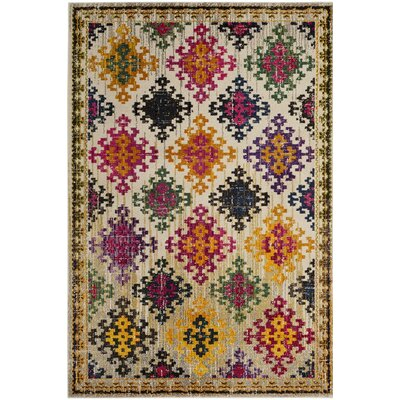 Chana Yellow/Pink Area Rug Rug Size: 67 x 92