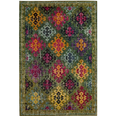 Chana Green/Pink/Yellow Area Rug Rug Size: Round 67