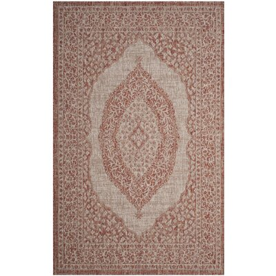 Myers Light Beige/Terracotta Indoor/Outdoor Area Rug Rug Size: 53 x 77