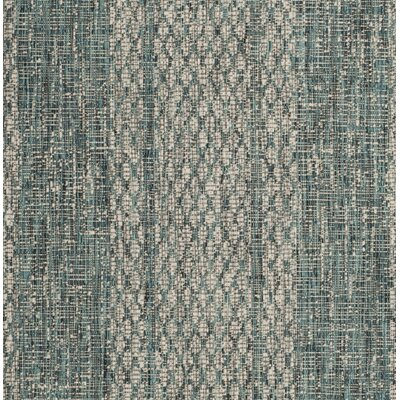 Myers Striped Light Gray/Teal Indoor/Outdoor Area Rug Rug Size: Rectangle 27 x 5