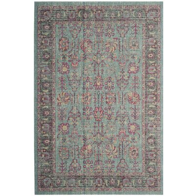 Chandni Light Blue/Black Area Rug Rug Size: Runner 22 x 8