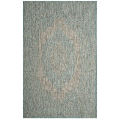 Myers Gray/Aqua Indoor/Outdoor Area Rug Rug Size: 53 x 77