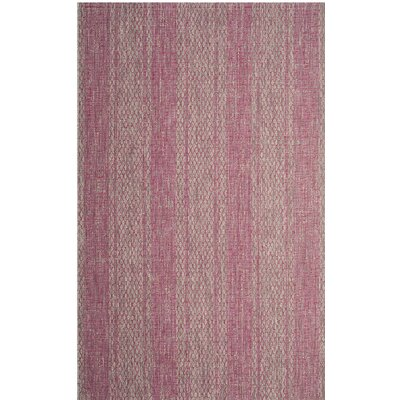 Myers Light Gray/Fuchsia Indoor/Outdoor Area Rug Rug Size: 53 x 77