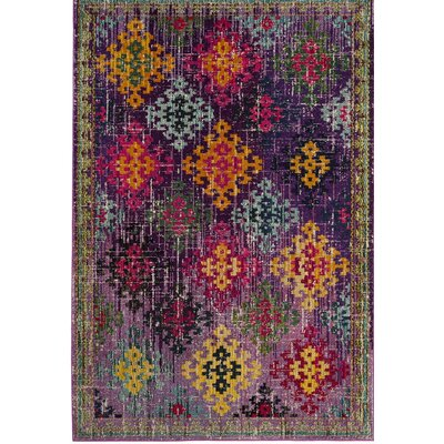 Chana Purple/Pink/Yellow Area Rug Rug Size: 51 x 77