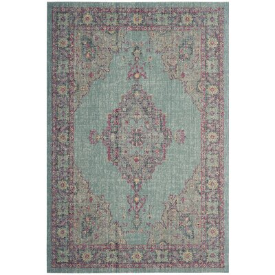 Bunn Light Blue/Navy Area Rug Rug Size: 4 x 6