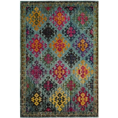 Chana Green/Pink Area Rug Rug Size: 51 x 77