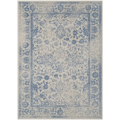Norwell Ivory/Light Blue Area Rug Rug Size: Square 6