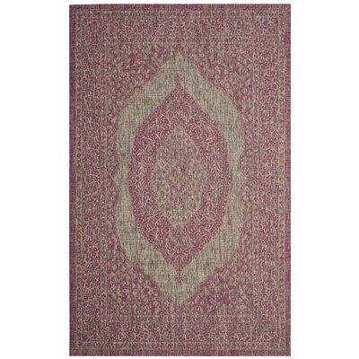 Myers Gray/Fuchsia Indoor/Outdoor Area Rug Rug Size: Round 67