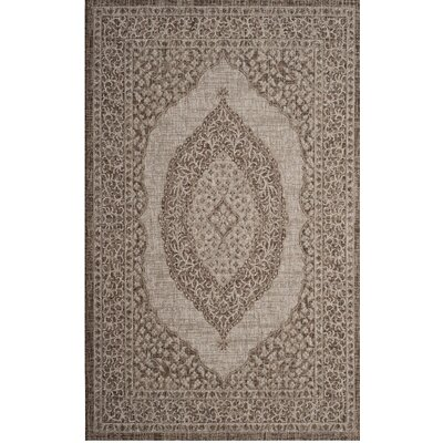 Myers Light Beige/Brown Indoor/Outdoor Area Rug Rug Size: Round 67