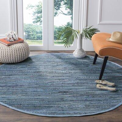 Naarden Hand-Woven Blue Area Rug Rug Size: Round 6'