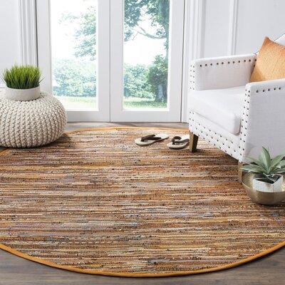 Apeldoorn Hand-Woven Brown Area Rug Rug Size: Round 6