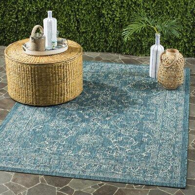 Haddad Blue/Gray Area Rug Rug Size: 53 x 77
