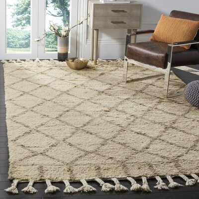 Livingston Hand-Tufted Beige Area Rug Rug Size: Rectangle 9 x 12