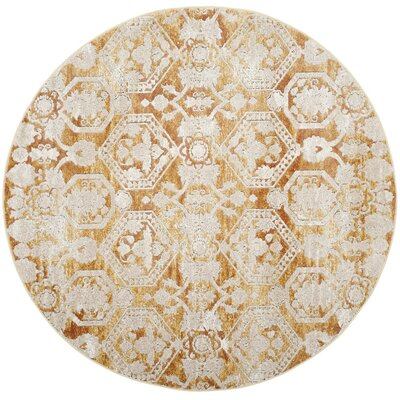 Bray Traditional Gold/Beige Area Rug Rug Size: Round 67