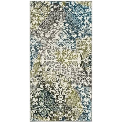 Sharmila Beige/Green Area Rug Rug Size: Runner 22 x 12