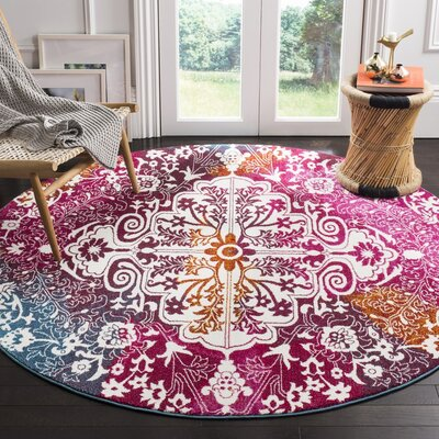 Shaurya Beige/Pink Area Rug Rug Size: Rectangle 53 x 76