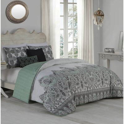Doshie 5 Piece Reversible Duvet Cover Set Size: King, Color: Mint