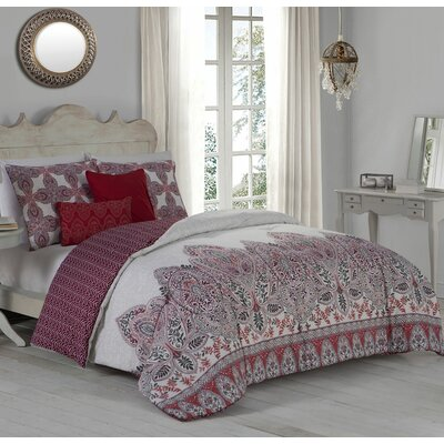 Doshie 5 Piece Reversible Duvet Cover Set Size: Queen, Color: Red