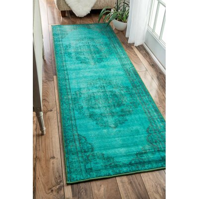 Ber Turquoise Area Rug Rug Size: Runner 28 x 8