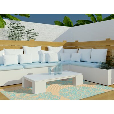 Devondra Neutral/Aqua Indoor/Outdoor Area Rug Rug Size: Runner 111 x 76