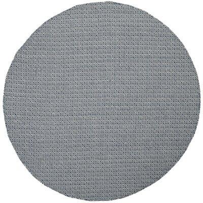Dormody Hand-Woven Cotton Ivory/Navy Blue Area Rug Rug Size: Round 6