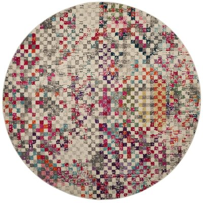 Elston Grey/Multi Area Rug Rug Size: Round 67
